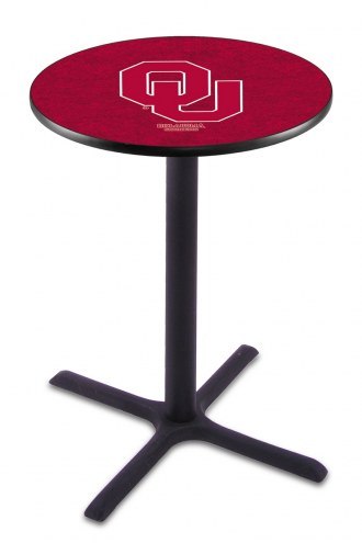 Oklahoma Sooners Black Wrinkle Bar Table with Cross Base