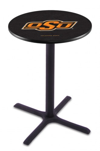 Oklahoma State Cowboys Black Wrinkle Bar Table with Cross Base
