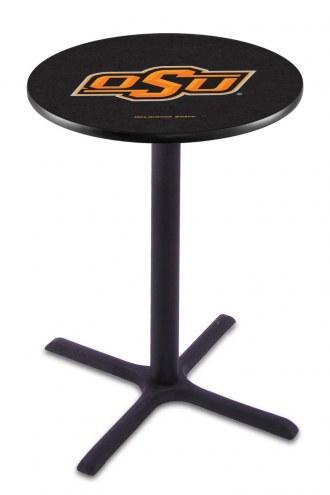 Oklahoma State Cowboys Black Wrinkle Bar Table with Cross Base