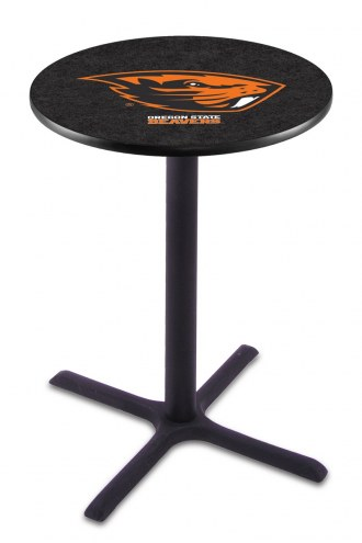 Oregon State Beavers Black Wrinkle Bar Table with Cross Base