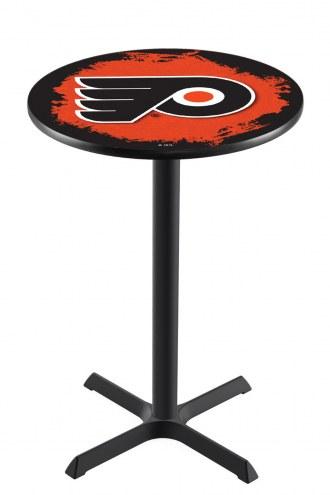 Philadelphia Flyers NHL Black Wrinkle Bar Table with Cross Base