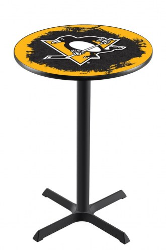 Pittsburgh Penguins Black Wrinkle Bar Table with Cross Base
