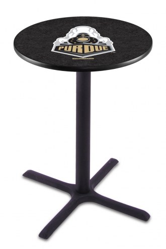 Purdue Boilermakers Black Wrinkle Bar Table with Cross Base