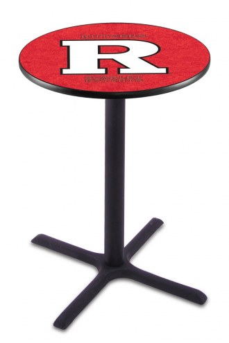 Rutgers Scarlet Knights Black Wrinkle Bar Table with Cross Base