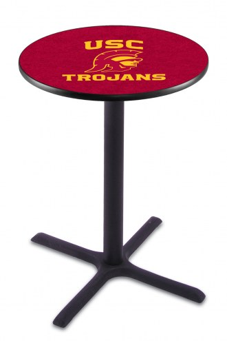 USC Trojans Black Wrinkle Bar Table with Cross Base