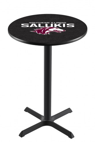 Southern Illinois Salukis Black Wrinkle Bar Table with Cross Base
