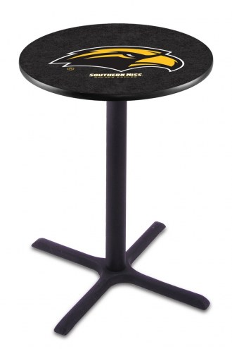 Southern Mississippi Golden Eagles Black Wrinkle Bar Table with Cross Base
