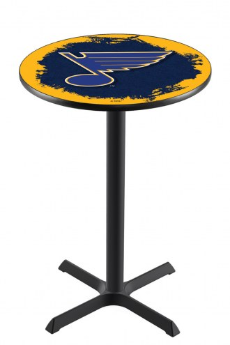 St. Louis Blues Black Wrinkle Bar Table with Cross Base