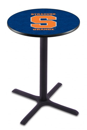 Syracuse Orange Black Wrinkle Bar Table with Cross Base