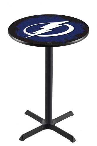 Tampa Bay Lightning Black Wrinkle Bar Table with Cross Base