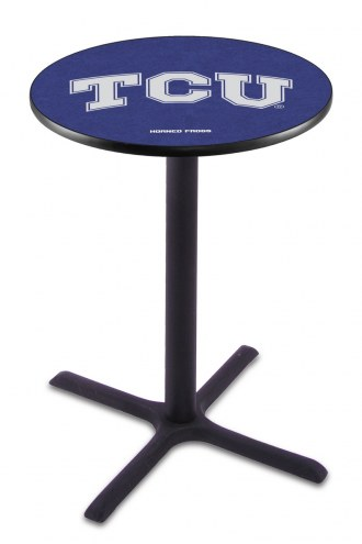 Texas Christian Horned Frogs Black Wrinkle Bar Table with Cross Base