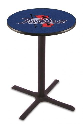 Tulsa Golden Hurricane Black Wrinkle Bar Table with Cross Base