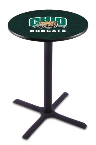 Ohio Bobcats Black Wrinkle Bar Table with Cross Base