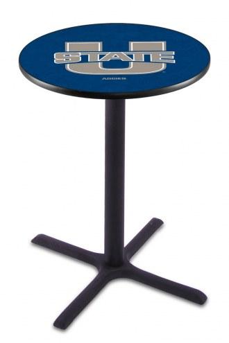 Utah State Aggies Black Wrinkle Bar Table with Cross Base