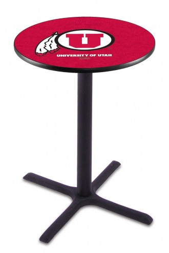 Utah Utes Black Wrinkle Bar Table with Cross Base