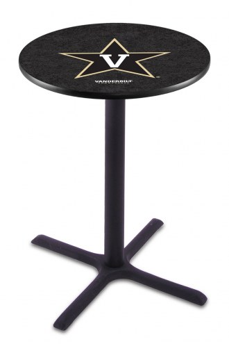 Vanderbilt Commodores Black Wrinkle Bar Table with Cross Base