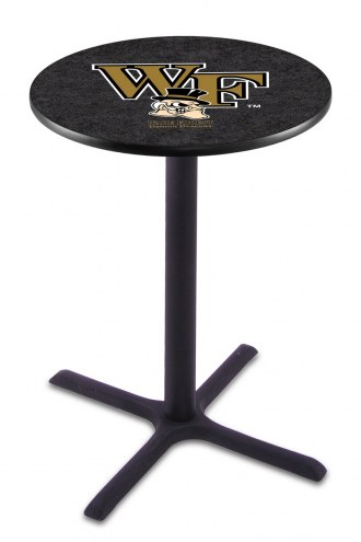 Wake Forest Demon Deacons Black Wrinkle Bar Table with Cross Base