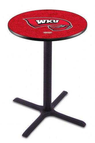 Western Kentucky Hilltoppers Black Wrinkle Bar Table with Cross Base