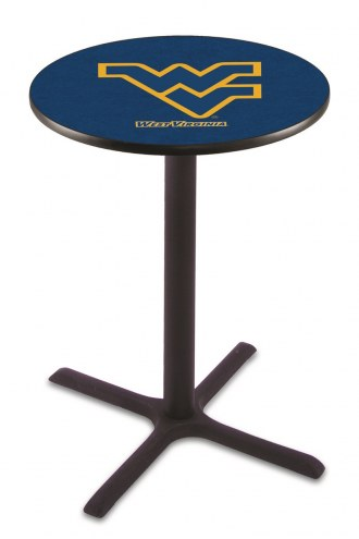 West Virginia Mountaineers Black Wrinkle Bar Table with Cross Base