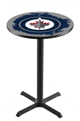 Winnipeg Jets Black Wrinkle Bar Table with Cross Base