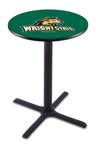 Wright State Raiders Black Wrinkle Bar Table with Cross Base