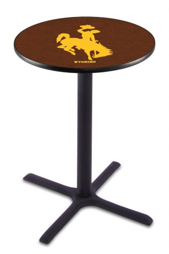 Wyoming Cowboys Black Wrinkle Bar Table with Cross Base