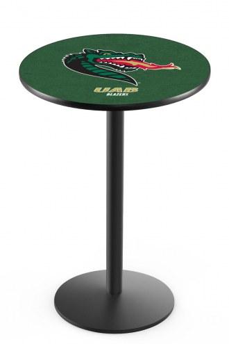 UAB Blazers Black Wrinkle Bar Table with Round Base