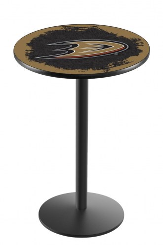 Anaheim Ducks Black Wrinkle Bar Table with Round Base