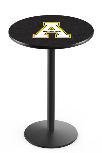 Appalachian State Mountaineers Black Wrinkle Bar Table with Round Base