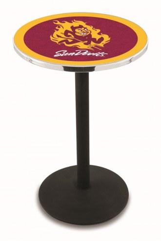 Arizona State Sun Devils Black Wrinkle Bar Table with Round Base