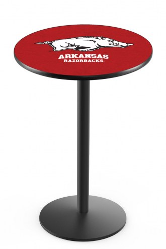 Arkansas Razorbacks Black Wrinkle Bar Table with Round Base