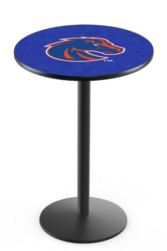 Boise State Broncos Black Wrinkle Bar Table with Round Base