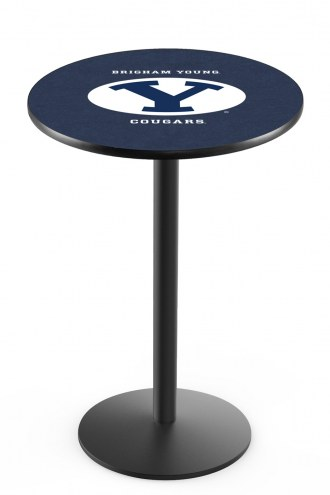 BYU Cougars Black Wrinkle Bar Table with Round Base