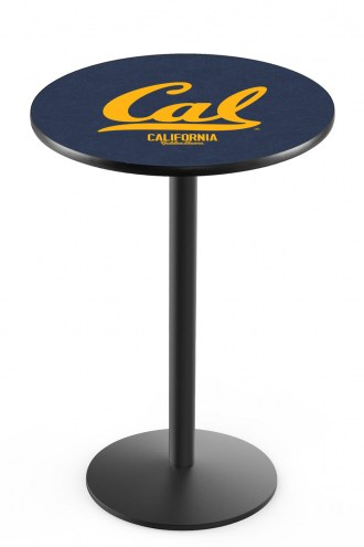 California Golden Bears Black Wrinkle Bar Table with Round Base