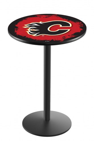 Calgary Flames Black Wrinkle Bar Table with Round Base