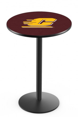 Central Michigan Chippewas Black Wrinkle Bar Table with Round Base