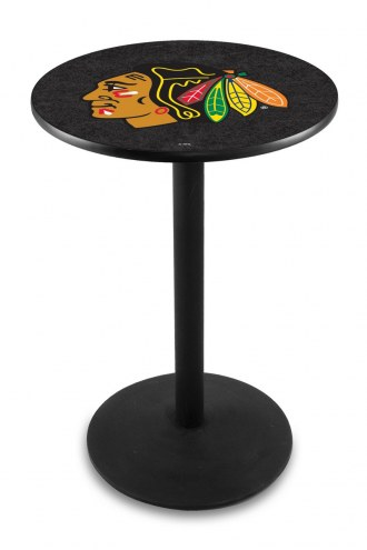 Chicago Blackhawks Black Wrinkle Bar Table with Round Base