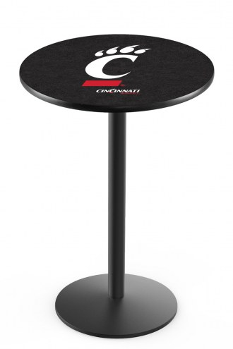 Cincinnati Bearcats Black Wrinkle Bar Table with Round Base