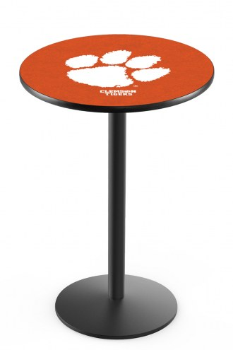 Clemson Tigers Black Wrinkle Bar Table with Round Base