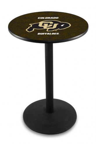 Colorado Buffaloes Black Wrinkle Bar Table with Round Base