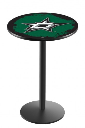 Dallas Stars Black Wrinkle Bar Table with Round Base