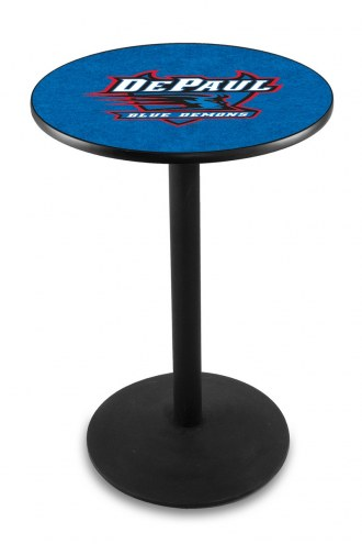 DePaul Blue Demons Black Wrinkle Bar Table with Round Base