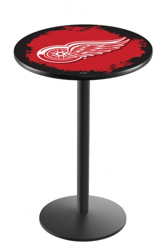 Detroit Red Wings Black Wrinkle Bar Table with Round Base