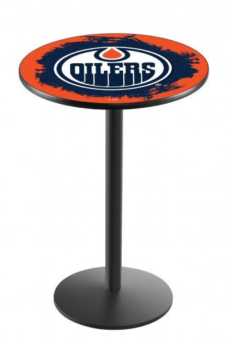 Edmonton Oilers Black Wrinkle Bar Table with Round Base