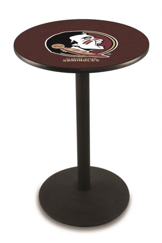 Florida State Seminoles Black Wrinkle Bar Table with Round Base