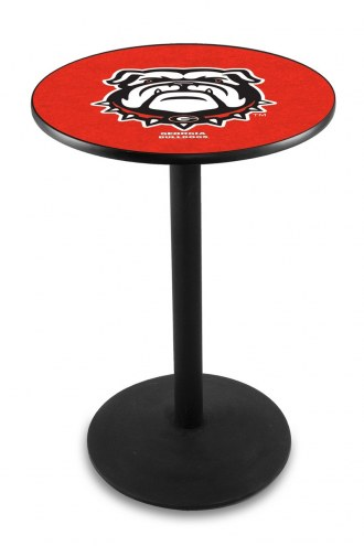 Georgia Bulldogs Black Wrinkle Bar Table with Round Base