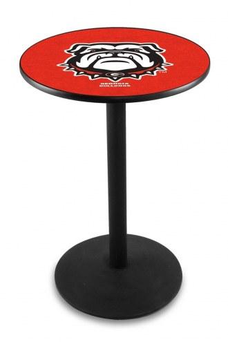 Georgia Bulldogs Black Wrinkle Bar Table with Round Base