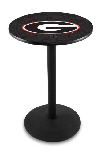 "Georgia Bulldogs ""G"" Black Bar Table with Round Base"