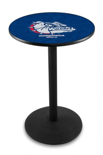 Gonzaga Bulldogs Black Wrinkle Bar Table with Round Base