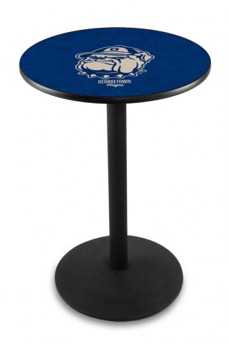Georgetown Hoyas Black Wrinkle Bar Table with Round Base